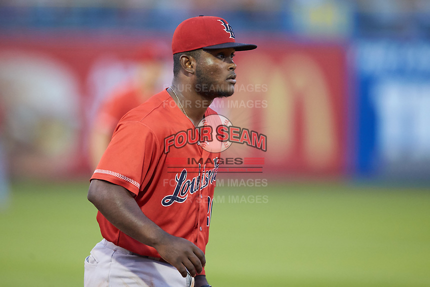 Louisville Bats third baseman Dilson Herrera (26) on defense against the Toledo Mud Hens at Fifth Third Field on June 16, 2018 in Toledo, Ohio. The Mud Hens defeated the Bats 7-4.  (Brian Westerholt/Four Seam Images)