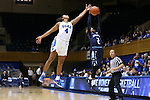 22 November 2016: Duke's Lexie Brown (4) tries to steal a pass to Old Dominion's MaKayla Timmons (2). The Duke University Blue Devils hosted the Old Dominion University Monarchs at Cameron Indoor Stadium in Durham, North Carolina in a 2016-17 NCAA Division I Women's Basketball game. Duke won the game 92-64.