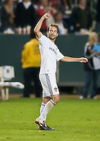 CARSON, CA - September 17, 2011: LA Galaxy midfielder Mike Magee (18) celebrates his goal during the match between LA Galaxy and Vancouver Whitecaps at the Home Depot Center in Carson, California. Final score LA Galaxy 3, Vancouver Whitecaps 0.