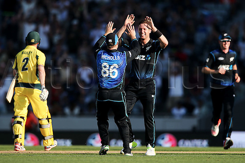 03.02.2016. Auckland, New Zealand.  Matt Henry of New Zealand celebrates his wicket of George Bailey of Australia. ANZ International Series, 1st Chappell-Hadlee Trophy ODI between New Zealand Back Caps and Australia at Eden Park in Auckland, New Zealand.