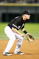 August 7, 2009:  Third Baseman Gordon Beckham (15) in the field during a game vs. the Cleveland Indians at U.S. Cellular Field in Chicago, IL.  The Indians defeated the White Sox 6-2.  Photo By Mike Janes/Four Seam Images