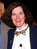 """Comic Paula Poundstone following her acceptance of the """"Equine Posterior Award"""" awarded in absentia for United States Representative Ernie Istook (Republican of Oklahoma), by Norman Lear's liberal advocacy group, People for the American Way for sponsoring the Religious Freedom Amendment to the Constitution in Washington, D.C. on May 18, 1998.  The award was designed by artist Robert Rauschenberg and cast by Robert Graham (Anjelica Huston's husband, not the Senator from Florida)..Credit: Ron Sachs / CNP"""