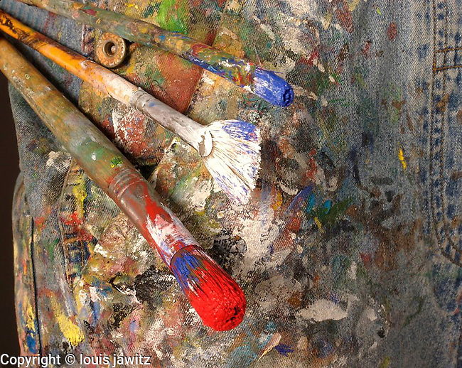 Painters, jeans, brushes, red, white, blue ,abstract, denim, coveralls ,