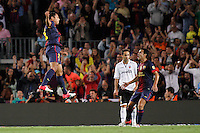 02/09/2012 - Liga Football Spain, FC Barcelona vs. Valencia CF Matchday 3 - Adriano celebrates his goal (left) with Pedro (right)