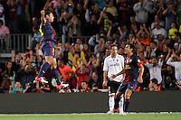 02/09/2012 - Liga Football Spain, FC Barcelona vs. Valencia CF Matchday 3 - Adriano celebrates his goal (left) with Pedro (right)