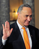 United States Senator Chuck Schumer (Democrat of New York) raises his right hand during the photo-op of the reenactment of his swearing-in in the Old Senate Chamber in the U.S. Capitol in Washington, D.C. on Wednesday, January 5, 2011..Credit: Ron Sachs / CNP.(RESTRICTION: NO New York or New Jersey Newspapers or newspapers within a 75 mile radius of New York City)