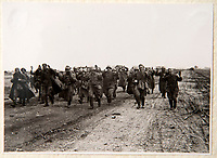 BNPS.co.uk (01202 558833)<br /> Pic: Dickins/BNPS<br /> <br /> Operation Barbarossa - Russian prisoners<br /> <br /> The unseen personal photo album of Field Marshal Wolfram von Richthofen, cousin to the legendary Red Baron, which gives an unprecedented insight into his military career in the Third Reich, has been rediscovered.<br /> <br /> Wolfram served in the Red Baron's squadron in the WW1, went on to design the 'Jericho trumpet' of the infamous Stuka Bomber between the wars, before leading the Condor Legion in the Spanish Civil War.<br /> <br /> After the outbreak of WW2 the fascinating album shows Richthofen's lead roll in Operation Barbarossa - the Nazi's suprise invasion of Communist Russia and their race to conquer the vast country before the onset of the notorious Russian winter.<br /> <br /> The two albums were taken from Berlin by a British soldier at the end of the Second World War who kept it for 60 years before it was passed into the hands of a private collector.<br /> <br /> Dickins auctions are selling the historic albums with a &pound;20,000 estimate on 31st March.