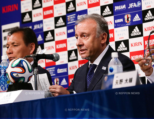 (R-L)   Alberto Zaccheroni,  Hiromi Hara (JPN),<br /> MAY 12, 2014 - Football / Soccer :<br /> Japan's head coach Alberto Zaccheroni during the press conference for the announcement of the 23-member Japan squad for the FIFA 2014 World Cup at Grand Prince Hotel Takanawa in Tokyo, Japan. (Photo by AFLO)