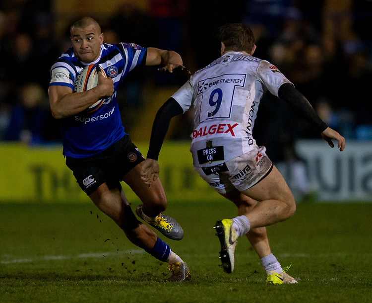 Bath Rugby's Jonathan Joseph<br /> <br /> Photographer Bob Bradford/CameraSport<br /> <br /> Gallagher Premiership - Bath Rugby v Gloucester Rugby - Monday 4th February 2019 - The Recreation Ground - Bath<br /> <br /> World Copyright &copy; 2019 CameraSport. All rights reserved. 43 Linden Ave. Countesthorpe. Leicester. England. LE8 5PG - Tel: +44 (0) 116 277 4147 - admin@camerasport.com - www.camerasport.com