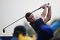 Rory McIlroy (Team Europe) plays from the 9th during Friday's Fourballs, at the Ryder Cup, Le Golf National, Îls-de-France, France. 28/09/2018.<br /> Picture David Lloyd / Golffile.ie<br /> <br /> All photo usage must carry mandatory copyright credit (© Golffile | David Lloyd)