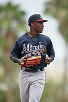 GCL Braves Michael Harris (26) jogs to the dugout during a Gulf Coast League game against the GCL Orioles on August 5, 2019 at Ed Smith Stadium in Sarasota, Florida.  GCL Orioles defeated the GCL Braves 4-3 in the first game of a doubleheader.  (Mike Janes/Four Seam Images)