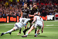 Jason Eaton of La Rochelle takes on Dan Carter of Racing 92 (10) and Camille Chat of Racing 92 (2) during the French Top 14 match between Racing 92 and La Rochelle at U Arena on February 18, 2018 in Nanterre, France. (Photo by Dave Winter/Icon Sport)