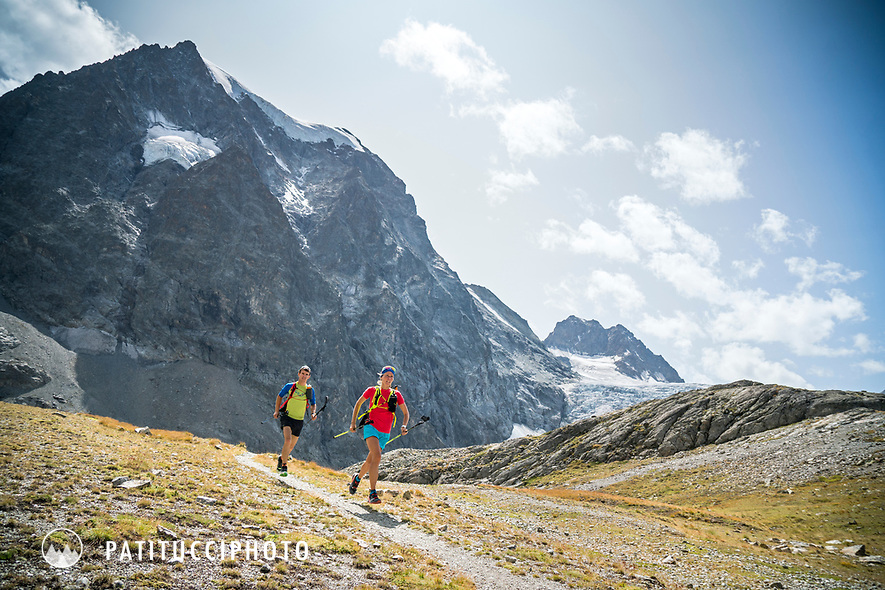 The Chamonix to Zermatt Glacier Haute Route. In late August 2017, we ran the tour in mountain running gear, running shoes, and all the necessary glacier travel and crevasse rescue gear. Running trails across the Plans de Bertol while on the way to the Bertol Hut.