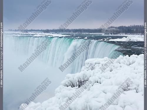 Niagara Falls Horseshoe waterfall wintertime scenic. Ontario, Canada.