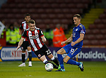 Caolan Lavery of Sheffield Utd tussles with Andy King of Leicester City during the Carabao Cup, second round match at Bramall Lane, Sheffield. Picture date 22nd August 2017. Picture credit should read: Simon Bellis/Sportimage
