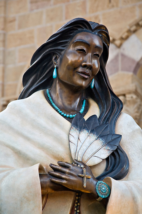 Bronze statue of Kateri Tekakwitha at the Cathedral Basilica of Saint Francis of Assisi in Santa Fe, New Mexico