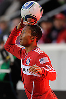 Mike Banner (18) of the Chicago Fire prepares for a throw in during the first half of a Major League Soccer match between the New York Red Bulls and the Chicago Fire at Red Bull Arena in Harrison, NJ, on March 27, 2010. The Red Bulls defeated the Fire 1-0.