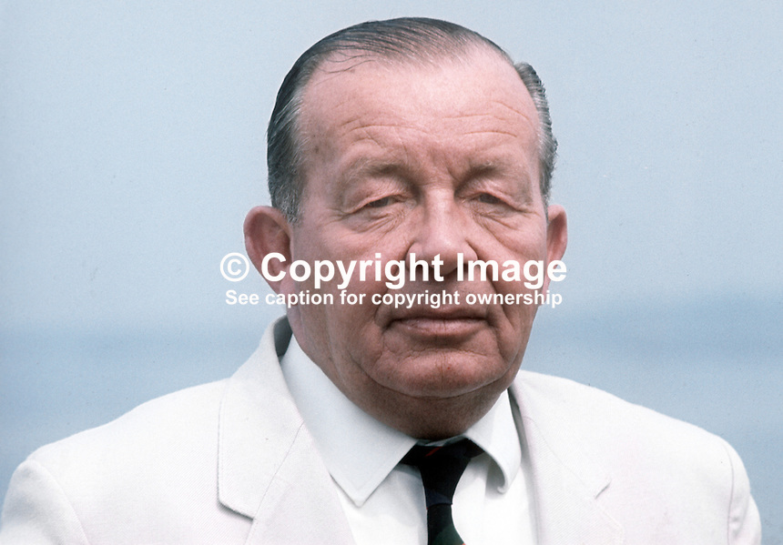 Dr Robert Nixon, Independent Unionist candidate, North Down, 18th June 1970 General Election. He was unelected, the seat being won by the Official Unionist James Kilfeddar. 197006000227a<br />