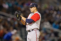 Gwinnett Braves starting pitcher Daniel Rodriguez (34) looks to his catcher for the sign against the Charlotte Knights at BB&T Ballpark on April 16, 2014 in Charlotte, North Carolina.  The Braves defeated the Knights 7-2.  (Brian Westerholt/Four Seam Images)