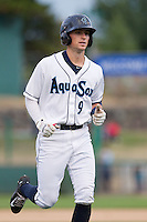 Everett Aquasox outfielder Braden Bishop (9) during a game against the Spokane Indians at Everett Memorial Stadium in Everett, Washington on July 24, 2015.  Everett defeated Spokane 8-6. (Ronnie Allen/Four Seam Images)