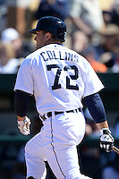 Detroit Tigers outfielder Tyler Collins (72) during a spring training game against the Miami Marlins on March 13, 2014 at Joker Marchant Stadium in Lakeland, Florida.  Miami defeated Detroit 4-2.  (Mike Janes/Four Seam Images)
