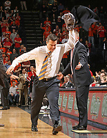 Virginia head coach Tony Bennet reacts to a call by throwing his jacket and gets called for a technical foul with seconds left on the clock during the game against Maryland. Photo/The daily progress/Andrew Shurtleff