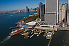 AERial view of Ferry terminal and Battery park lower manhattan