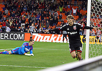 WASHINGTON, D.C - April 05 2014: Chris Rolfe celebrates scoring the second D.C. United goal in the ninetieth minute against the New England Revolution in an MLS match at RFK Stadium, in Washington D.C. United won 2-0.