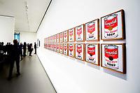 Illustration Ambiance / Andy Warhol - Boites de Soupe Campbell<br /> Parigi 16-10-2017 MoMa <br /> Esposizione Arte moderna <br /> Foto JB Autissier / Panoramic / Insidefoto