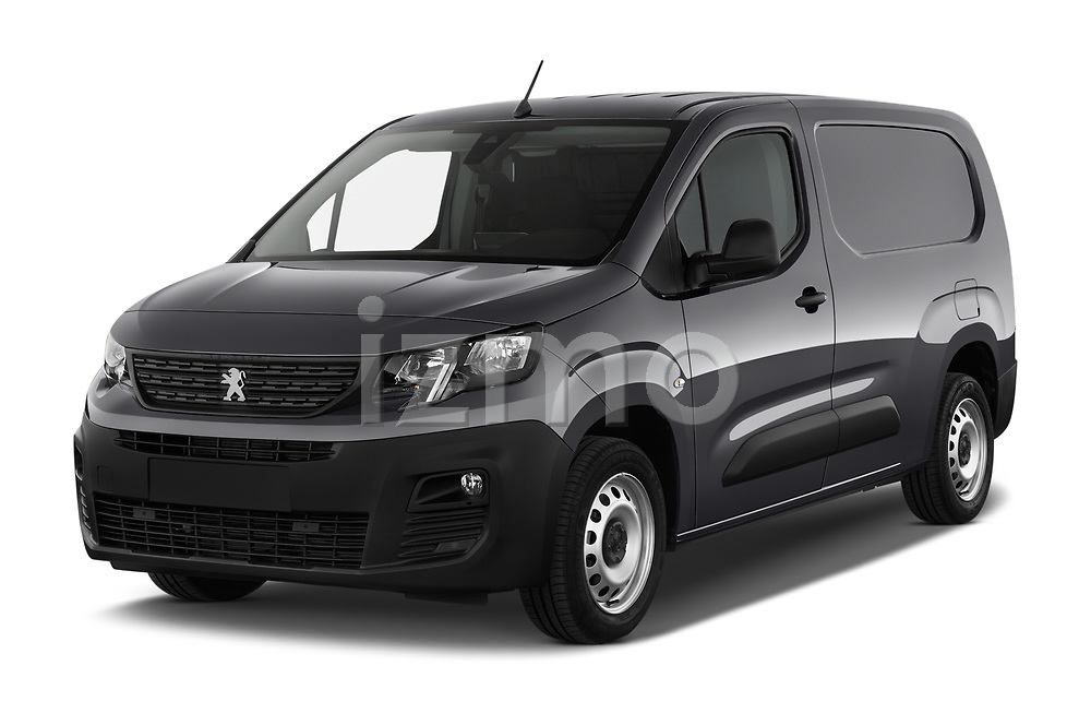 2019 Peugeot Partner Pemium 4 Door Car Van Angular Front stock photos of front three quarter view