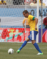 Brazil defender Bruno Uvini (13) passes the ball. In an international friendly (Clash of Titans), Argentina defeated Brazil, 4-3, at MetLife Stadium on June 9, 2012.