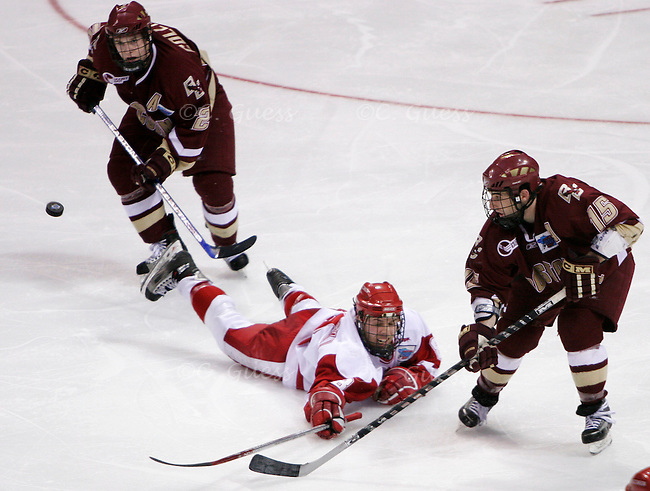 Sophomore forward Joe Pavelski dives after a flying puck on the way towards a Badger 2-1 win over Boston College.