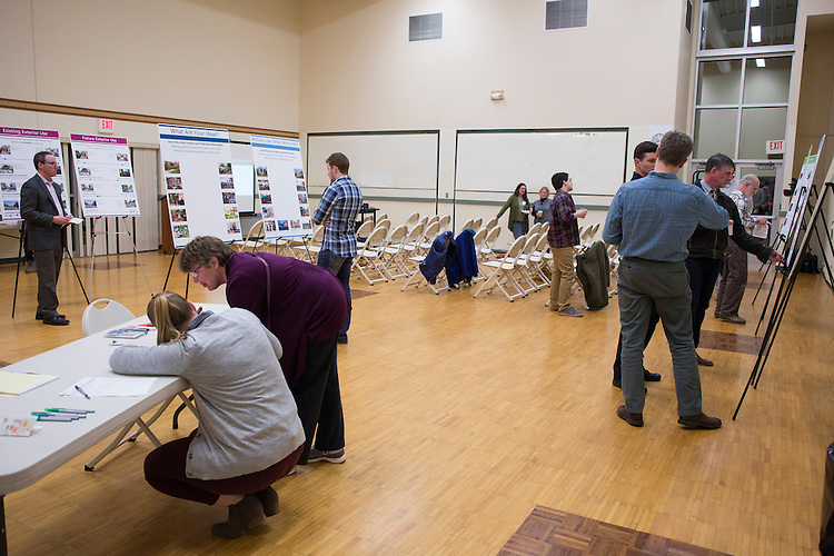 Athens community members learn about the possibilities of the future of Park Place and share what they would like to see change or remain the same during the public planning workshop at the Athens Community Center on Feb. 22, 2017.