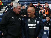 Newcastle United's Manager Steve Bruce greets Preston North End manager Alex Neil in the dugout<br /> <br /> Photographer Stephen White/CameraSport<br /> <br /> Football Pre-Season Friendly - Preston North End v Newcastle United - Saturday July 27th 2019 - Deepdale Stadium - Preston<br /> <br /> World Copyright © 2019 CameraSport. All rights reserved. 43 Linden Ave. Countesthorpe. Leicester. England. LE8 5PG - Tel: +44 (0) 116 277 4147 - admin@camerasport.com - www.camerasport.com