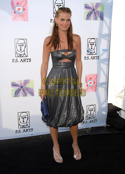 MOLLY SIMS.Attends Los Angeles Antiques Show Preview Party held at Barker Hangar in Santa Monica, California, USA..April 25th, 2007.full length silver grey gray metallic strapless dress cut out away shoes blue bag purse clutch .CAP/DVS.©Debbie VanStory/Capital Pictures