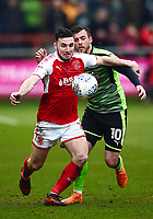 Fleetwood Town's Lewis Coyle vies for possession with  Plymouth Argyle's Graham Carey<br /> <br /> Photographer Richard Martin-Roberts/CameraSport<br /> <br /> The EFL Sky Bet League One - Fleetwood Town v Plymouth Argyle - Saturday 10th March 2018 - Highbury Stadium - Fleetwood<br /> <br /> World Copyright &copy; 2018 CameraSport. All rights reserved. 43 Linden Ave. Countesthorpe. Leicester. England. LE8 5PG - Tel: +44 (0) 116 277 4147 - admin@camerasport.com - www.camerasport.com