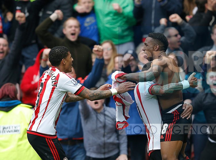 Jermain Defoe of Sunderland celebrates scoring the winning goal during the Barclays Premier League match at the Stadium of Light, Sunderland. Photo credit should read: Simon Bellis/Sportimage