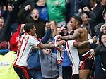 Jermain Defoe of Sunderland celebrates scoring the winning goal during the Barclays Premier League match at the Stadium of Light, Sunderland. Photo credit should read: Simon Bellis/Sportimage
