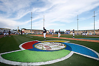 20 September 2012: Close view of the World Baseball Classic logo on the field of the Roger Dean Stadium prior to Spain 8-0 win over France, at the 2012 World Baseball Classic Qualifier round, in Jupiter, Florida, USA.