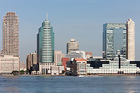 Part of the skyline of Jersey City, New Jersey, overlooking the Hudson River.