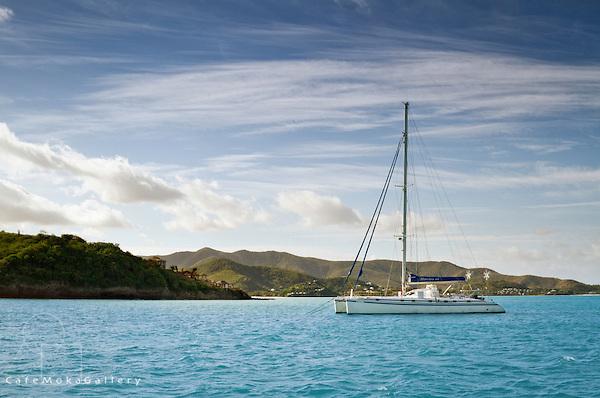 Catarmaran anchored off the coast - early morning
