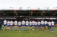 Bath Rugby line up prior to the match. Aviva Premiership match, between Harlequins and Bath Rugby on March 2, 2018 at the Twickenham Stoop in London, England. Photo by: Patrick Khachfe / Onside Images