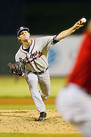 Rome Braves relief pitcher Matt Chaffee (24) delivers a pitch to the plate against the Kannapolis Intimidators at CMC-Northeast Stadium on August 24, 2013 in Kannapolis, North Carolina.  The Intimidators defeated the Braves 6-1.  (Brian Westerholt/Four Seam Images)