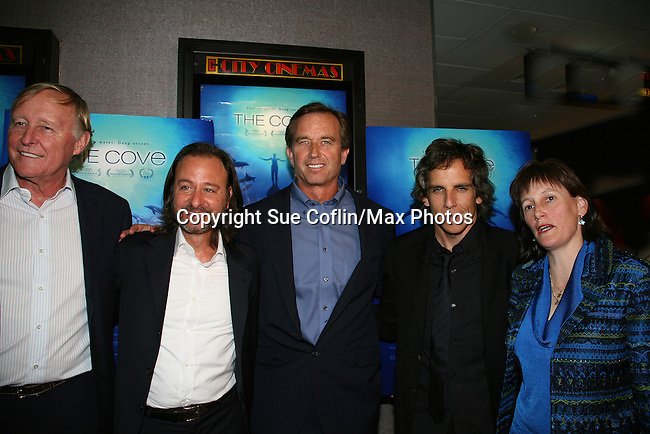 Jim Clark - Fisher Stevens - Robert F. Kennedy, Jr. - Ben Stiller - Jane Rosenthal at the New York Screening of The Cove, Cinema 2, NYC. (Photo by Sue Coflin/Max Photos)