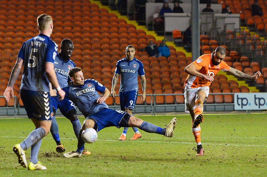Blackpool's Kyle Vassell shoots at goal<br /> <br /> Photographer Richard Martin-Roberts/CameraSport<br /> <br /> The EFL Sky Bet League One - Blackpool v Charlton Athletic - Tuesday 13th March 2018 - Bloomfield Road - Blackpool<br /> <br /> World Copyright &not;&copy; 2018 CameraSport. All rights reserved. 43 Linden Ave. Countesthorpe. Leicester. England. LE8 5PG - Tel: +44 (0) 116 277 4147 - admin@camerasport.com - www.camerasport.com