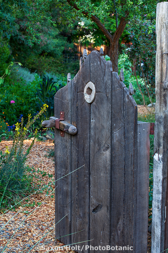 Rustic wooden entry gate to country garden room; Kate Frey Garden