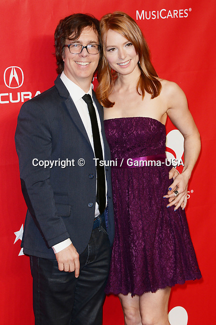Alicia Witt and Ben Folds  arriving at the 2014 MusiCares Person of the year at the Convention Center in Los Angeles.
