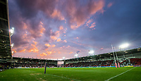 Picture by Allan McKenzie/SWpix.com - 06/04/2018 - Rugby League - Betfred Super League - St Helens v Hull FC - The Totally Wicked Stadium, Langtree Park, St Helens, England - A dramatic sunset begins to take place over Langtree park, general view, gv.