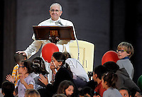 Pope Francis during the Family Day at St Peter's square at the Vatican on October 26, 2013