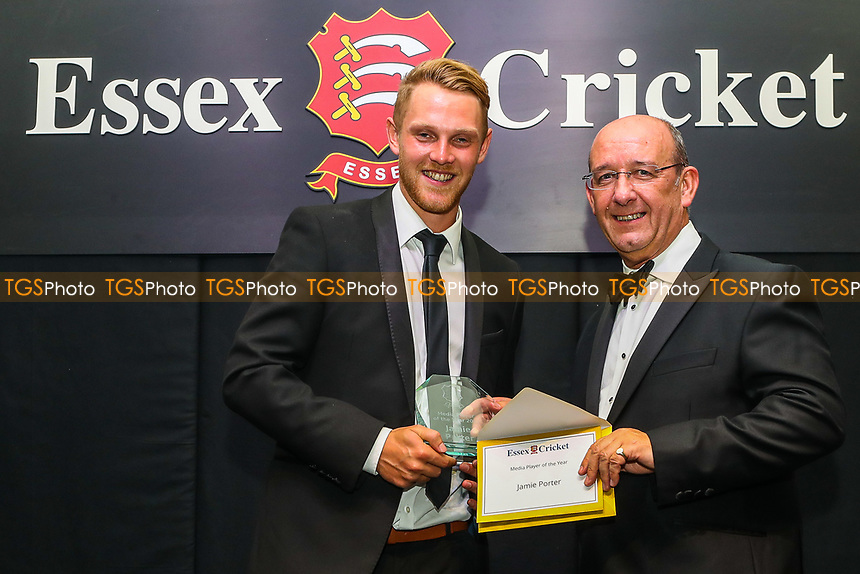 Jamie Porter of Essex receives the Media Player Of The Year Award during the Essex CCC Awards at The Cloudfm County Ground on 3rd October 2018